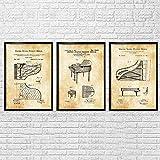 SXXRZA Lienzo Arte de la Pared 3 Piezas 50x70cm Sin Marco Cuadro Retro Hecho a Mano Piano órgano Maestro de música formación Escolar decoración Pintura Estilo Industrial Pintura de Pared