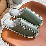 QPPQ Zapatillas de algodón para mujer y hombre, zapatillas de invierno para el hogar, suela gruesa, térmica, de algodón, color verde oscuro, 7,5 a 8,5, cómodas zapatillas de algodón para interiores