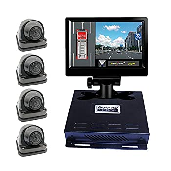 Weivision 1080P FHD 360 Degree Bird View Surround Panoramic View Car Vihicle DVR Camera System Kit for Fire Engine/Bus/School Bus/Truck/Semi-Trailer/Box Truck/RV + 7inch HD Display …