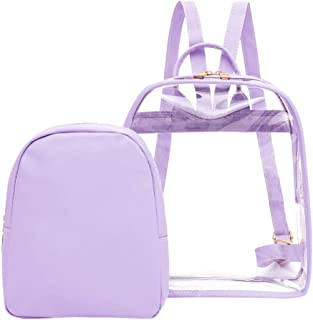 Wultia - Transparent Backpack Women Bookbag Candy Clear Jelly Women Travel Backpack Purse Crystal Beach Bag Portable Women Jelly Bags #G8 Purple