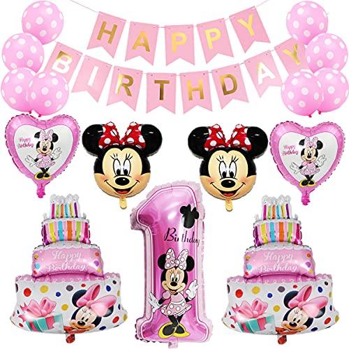Minnie Globos, Decoraciones de cumpleaños de Mickey 1er Cumpleaños Bebe Globos Decoracion Artículos para la Fiesta de Mickey Pancarta de Feliz Cumpleaños (Rosa)