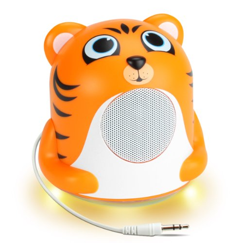 GOgroove Altoparlante Musicale Portatile con Design Animale (Tigre) e Luce Notturna a LED Verdi per Bambini, Bimbi, Neonati – Funziona con cellulari, Tablet, Lettori MP3   MP4 e Altro!