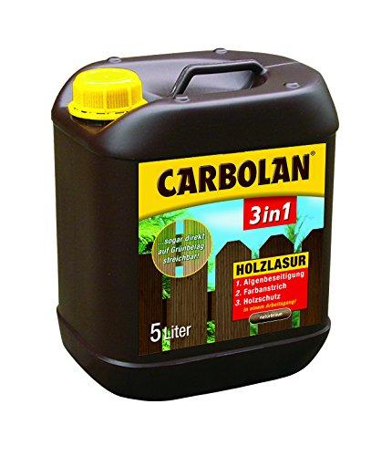 CARBOLAN 3in1 Holzlasur 5L Holzschutz Holz Lasur Algenfrei, auch auf Grünbelag