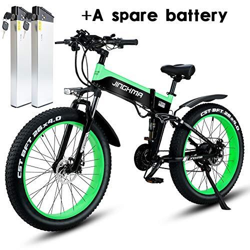 Shengmilo MX01 Freno a Disco Idraulico da Mountain Bike Elettrico da 1000W con Batteria da 21Speeds 13AH (Verde(2 batterie))