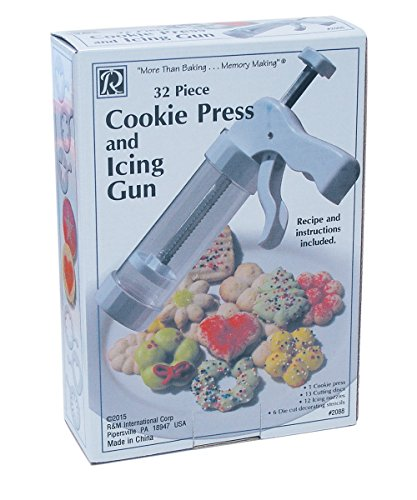 R&M International 2088 juego de prensa de galletas y pistola de glaseado, incluye 13 discos de corte, 12 boquillas de glaseado y 6 plantillas de decoración