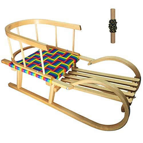 HAMMEL Slitta da neve in legno per bambini con schienale schienale in acciaio corda SN-H-C