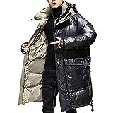 Abrigo Acolchado con Capucha De Invierno para Hombre Parka Chaqueta Larga Abullonada De Invierno Ropa De Abrigo con Aislamiento Pesado,Negro,XL