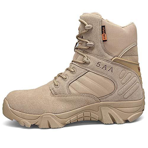 Bititger - Botas de desierto militares de piel, impermeables, con cremallera, botas tácticas y de combate para hombre, para patrullas, de seguridad, para policías, color Beige, talla 42 1/3 EU