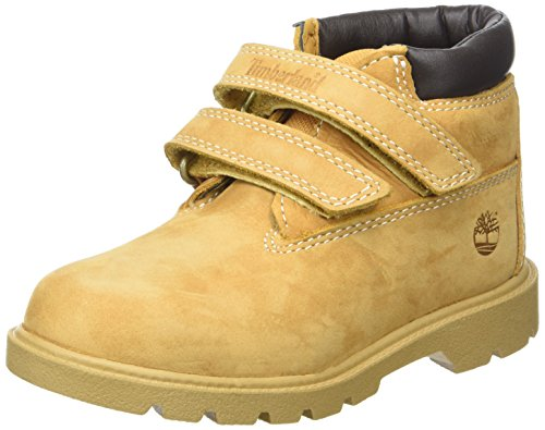 Timberland Unisex-Kinder Double Strap Hook & Loop Waterproof Lauflernschuhe, Gelb (Wheat Nubuck), 29 EU