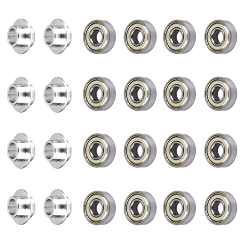 perfeclan 8pcs 8mm Skate Spacers + 16x Skateboard Scooter Inline Roller Skate Bearings