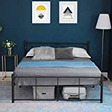 Alecono Small Double Bed Frame 4ft Reinforced Metal Platform Bed Frame with Headboard Black