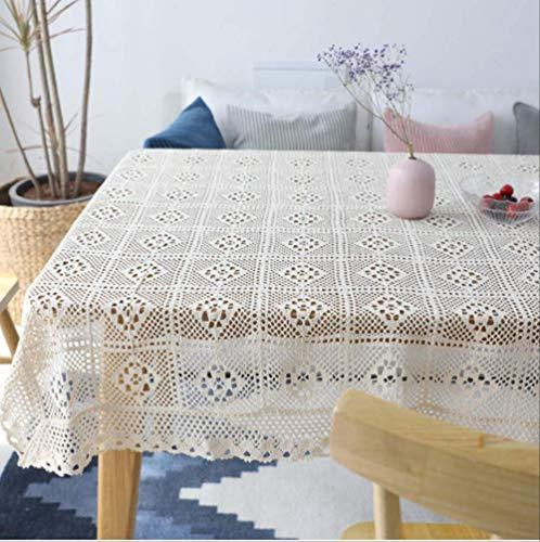 Beige Square Plaid tafelkleed, geweven holle doek, stofdichte achtergrond tafelkleed 100x140cm