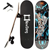Skateboard Complete, 31' x 8' Double Kick Concave Pro Skateboards for Trick, Freestyle, Carving and Cruising with All-in-one T-Tool