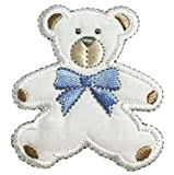 Original Design Patches Cool Patches Puffy Teddy Bear Applique Patch - Blue Bow 2-3/8' (Iron on) Fashion Drawings
