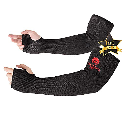 """Kevlar-Sleeves Arm Protection Sleeves with Thumb Hole, MOKEYDOU [18"""" Inch Long, 9""""-14"""" Wide] Safety Arm Guide Cut, Heat Resistant Protective Mechanic Sleeves for Men, Women 1Pair - Black [Newest 2020]"""