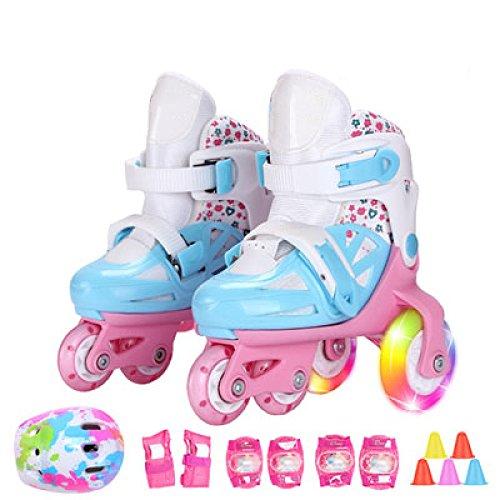 Inliner Kinder Einstellbar 4 Räder Inline Skates Kinder Jungen Mädchen Kleinkinder Anfänger Flash PVC Rad Atmungsaktive Skating Schuhe Schutz Set 3-8 Jahre Alt,Blue-S(24-28)