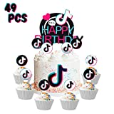 49 Pcs TIK TOK Happy Birthday Cake Toppers, Hot Music Note Themed Topper Celebrate Birthday Cupcakes Topper Short Video Decor Party Favor for Cakes Deserts Fruits Accessories Photo booth