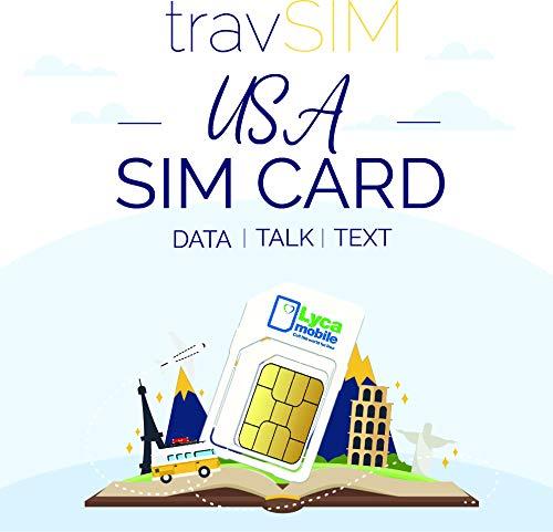 travSIM - Tarjeta SIM de USA (Tarjeta SIM de Lycamobile) Válida por 60 Días - Datos Móviles de 5GB 3G 4G LTE - Estados Unidos Tarjeta SIM Lycamobile de US (Llamadas Locales e Internacionales)