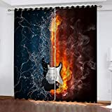 GTBDWOSK Cortina Opaca para Guitarra Frozen Y Flame para Dormitorio, con Estampado, para Niños, Niñas, 3D Cortinas Opacas De Microfibra Hipoalergénicas, 300X280 Cm (Ancho X Alto) - Cortinas Infanti