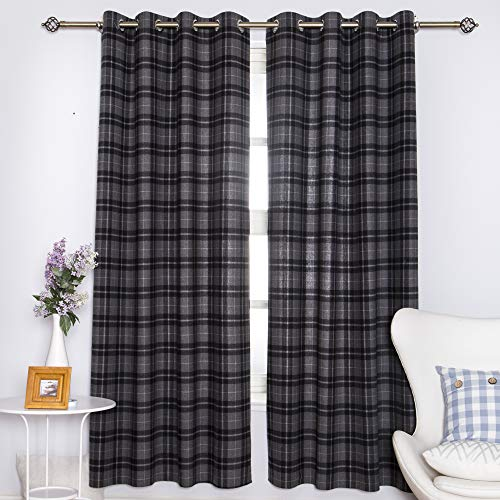 """DOLLMEXX Plaid Curtains, Lumberjack Fashion Buffalo Style Checks Pattern Retro Style with Grid Composition, Living Room Bedroom Window Drapes(2 Panels, 52""""x84"""", Black with Grey)"""