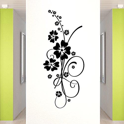Grandora Wandtattoo Hibiskus Blumenranke Elainore I schwarz (BxH) 58 x 139 cm I Flur Wohnzimmer Blume Ranke Sticker Aufkleber Wandaufkleber Wandsticker W5031