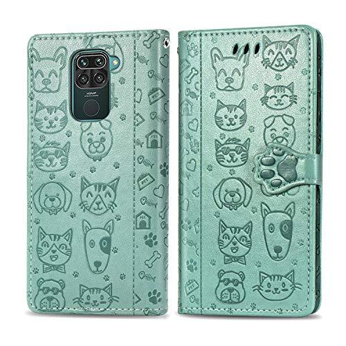 Abuenora Funda para Xiaomi Redmi Note 9, Redmi 10X 4G Carcasa Libro con Tapa Flip Case Antigolpes Cartera Polipiel Cuero Suave Guay Cubierta Color Verde