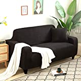 UTDFEOPSG Washable Sofa Cushion Cover Sets 2 Seater,Thickened Living Room Elastic Sofa Cover, Dust Covers Solid Color All-Inclusive Non-Slip Sofa Black 145-185CM(57-73inch)