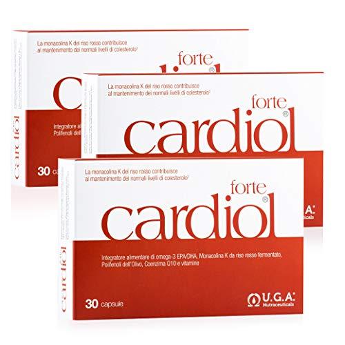 CARDIOL forte - Integratore per il Colesterolo con Omega-3 EPA/DHA, 10 mg Monacolina K da riso rosso, 100mg CoQ10 ed estratto di olivo - 90 cps (30 cps x 3)