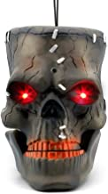LUKAT Halloween Hanging Decorations, Halloween Skull Head with Glowing Eyes & Creepy Sounds & Biting Mouth Portable Scary Zombie Head for Halloween Indoor/Outdoor Carrying, Hanging and Decorations