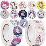 1000pcs 2.5cm Pegatinas Papel de Unicornio Etiquetas Adhesivas Redondas para Scrapbooking Decoración Cajas Bolsas Regalos Sobres Fiesta