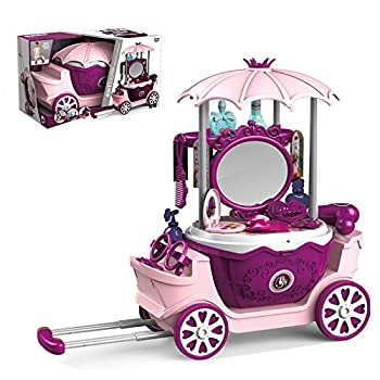 Toy Dressing Trolley for Girls Princess Dresser Beauty Kit with Mirror for Ages 3-13 Building Toys Folden Handle Carry Case