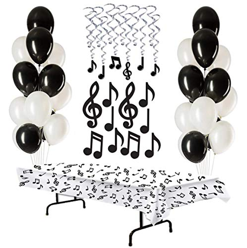 Music Party Supplies Musical Note Decorations Hanging Whirls Cutouts Balloons Table Cover