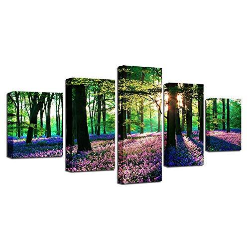 Impresión En Lienzo 5 Piezas Cuadro Sobre Lienzo Los Árboles Del Bosque Los Rayos Del Sol Púrpura Lavanda Imágenes Xxl 150X80Cm Oficina Sala De Estar O Dormitorio Decoración Del Hogar Arte De Pared
