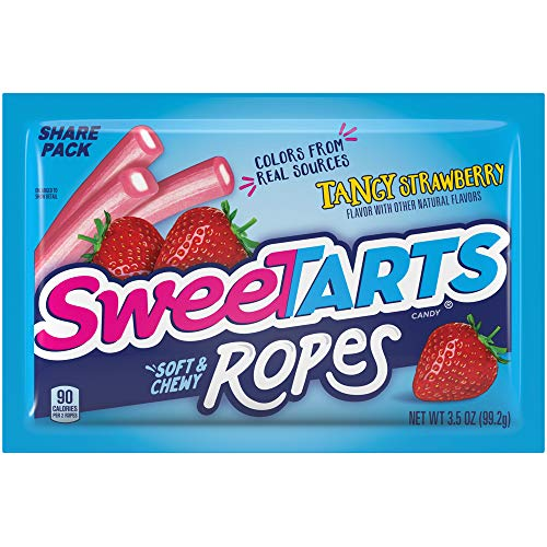 SweeTARTS Tangy Strawberry Ropes Soft & Chewy Candy, 3.5 Ounce (Pack of 12)