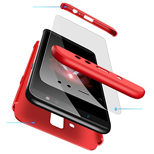 cmdkd Hülle Kompatibel mit Samsung Galaxy A6 2018 5.6 Zoll,Hardcase 3 in 1 Handyhülle 360 Grad Hülle Full Cover Case Komplett Schutzhülle Glatte Bumper + Panzerglas.Rot