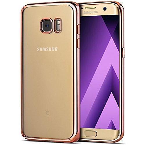iPro Accessories Schutzhülle für Samsung Galaxy A3 2017, stoßfest, Silikon, TPU-Gel, transparent, Gummi, weich, nicht kompatibel mit Galaxy A3 2016, Gummi, rose gold, Galaxy A3 2017