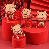 FLYAND Feng Shui ox 2021 estatuas y estatuas, Chino Zodiaco Toro año Resina Escultura Escultura decoración Coche Interior Mini muñeca muñeca año Nuevo Adornos, Conjunto (Color : Set)