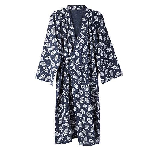 Vêtement de Nuit Homme Femme Pyjamas Chemise de Nuit Coton Respirante Kimono Costume Robes Chemise Manches Long Veste de Pyjama Peignoir Maison Salon Dormir Khan Steamed Méditation,M,Bleu