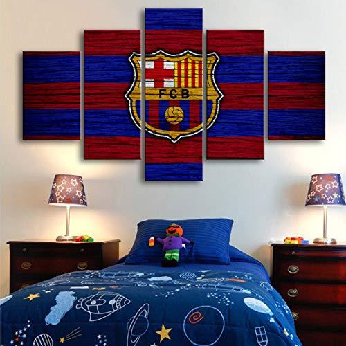 Angle&H 5 Stücke Wandkunst Barcelona Fahne Logo Plakate HD-Drucke Fußball Leinwand Gemälde Bilder Zuhause Schlafzimmer Wohnzimmer Dekoration,B,25x40x2+25x60x1+25x50x2