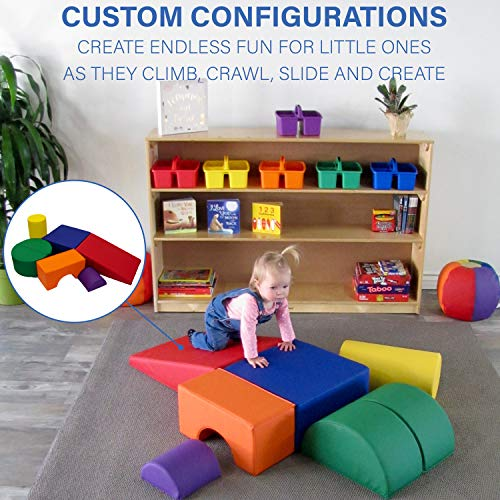 FDP SoftScape Playtime and Climb Multipurpose Soft Foam Playset with Foldable Seat for Infants and Toddlers; Crawling, Climbing, Block Play for Home, Daycare, Preschool (6-Piece) - Contemporary