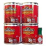 La Costena Chipotle Peppers en salsa de Adobo 199g latas - Paquete de 4...