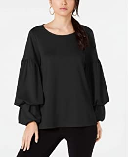 Alfani Womens Blouse Rich Tiered Bubble Sleeve Top (S, Black)