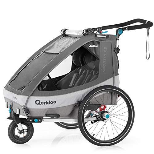 Qeridoo Sportrex 2 (2020) Fahrradanhänger 2 Kinder, einstellbare Federung - Grau