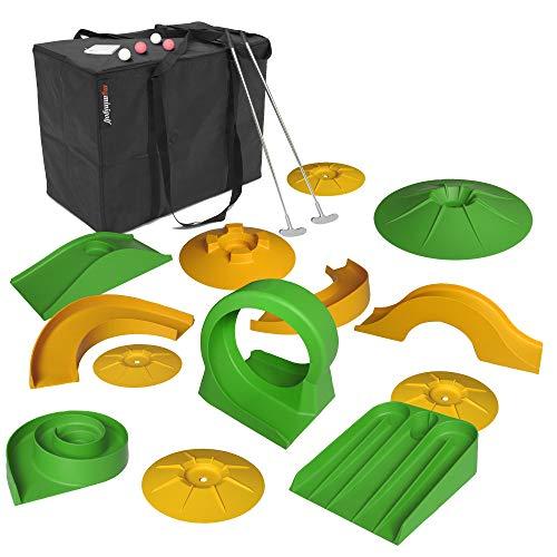 Monsterzeug Mobiles Minigolf, Minigolf Set, Minigolf für zuhause, Tragbares Minigolf, Indoor und Outdoor, 13 Hindernisse