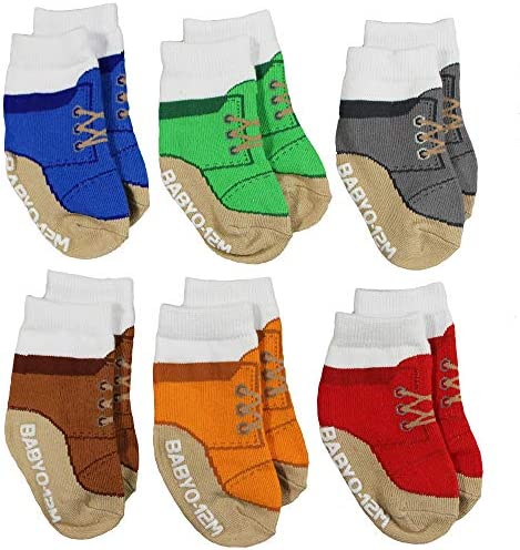 Baby Boy Socks That Look Like Chukka Desert Boots 6 Pairs of Non Skid Socks Fits 0 12 Months product image