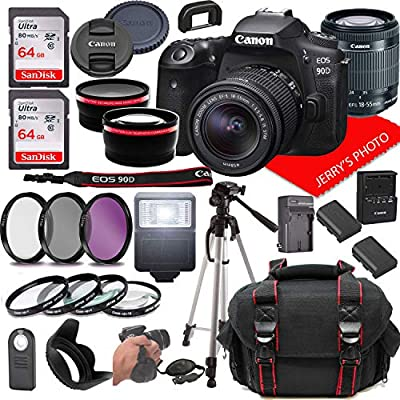 Canon EOS 90D DSLR Camera w/Canon EF-S 18-55mm F/3.5-5.6 is STM Zoom Lens + Case + 128GB Memory (28pc Bundle) from Jerry's Photo | Canon Intl
