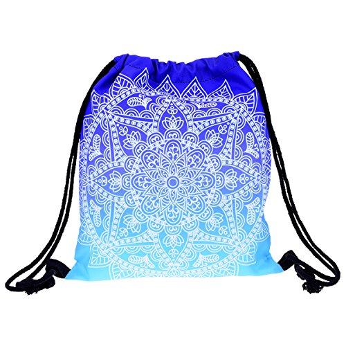 Yokata Turnbeutel Sporttasche Sportbeutel Rucksack für Mädchen, Damen, Teenager, Kinder, Herren - Blaue Mandala