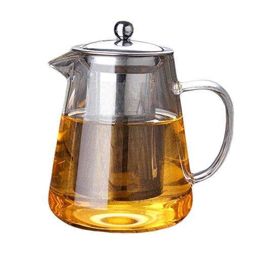 HUVE Tetera, 400 ml Tetera de vidrio transparente con infusor desmontable, microondas y hornillo, seguro, colador de té para té y té, perfecto para una (450ml)