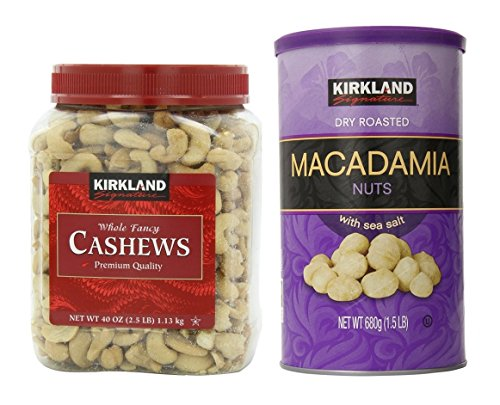 Kirkland Signature Cashewsa and Macadamia Nuts Bundle - Includes Kirkland Signature Whole Fancy Cashews (2.5 LB) and Dry Roasted Macadamia Nuts with Sea Salt (1.5 LB)