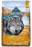 Blue Buffalo Wilderness Flatland Feast High Protein Grain Free Natural Adult Dry Dog Food with Turkey, Quail & Duck 22-lb